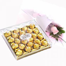 Single Rose & 24pcs Ferrero Rocher Chocolate
