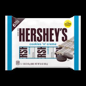 Hershey's Cookies n' Creme 6 -1.55 oz BARS / NET WT. 9.3 OZ