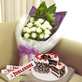 with Black Forrest and Toblerone white