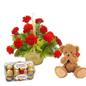 Red Carnation Basket Arrangement + cute bear + ferrero chocolates