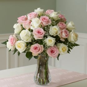 12 pcs. white rose & 12 pcs. pink rose