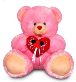 Pink bear with cute heart