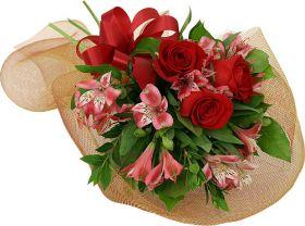 Red budget flower arrangement
