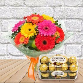 10 pcs gerbera flower boquet