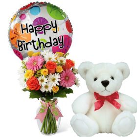 """Colorful Birthday Celebration - Mixed Flower in Vase and Balloon + 6"""" White Bear"""