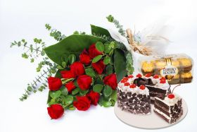 12 roses in bouquet with Black Forrest Cake (junior size) and 200g Ferrero Rocher chocolate.