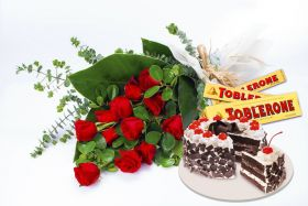 12 roses in bouquet with Black Forest Cake (junior size) and 3 pieces Toblerone 100g