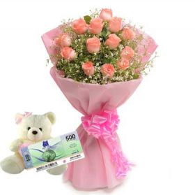 Bouquet + Stuffed Toy + SM Gift Certificate