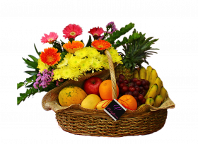 Fruits and Spring Flowers Basket
