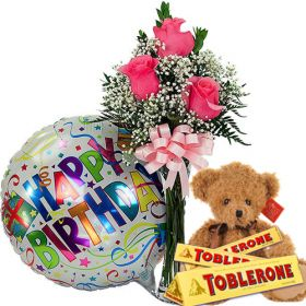 """6"""" Cute bear, 3 pcs. Toblerone Chocolate 100g, Rose with Vase and Mylar Balloon"""