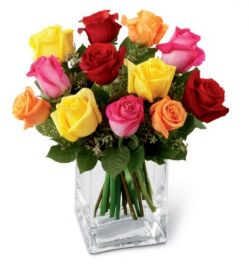 Mixed Rose Bouquet in Vase to Philippines