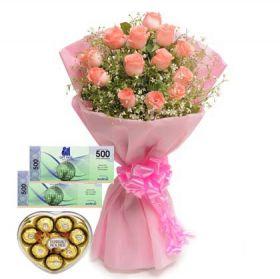 Bouquet + Ferrero Heartshape + SM Gift Certificate