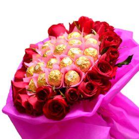 24 Roses and 24 Ferrero Bouquet