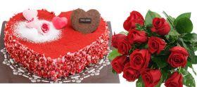 Strawberry Heart Cake w/ Flower