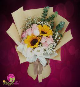Sunflower & Pink Roses Bouquet