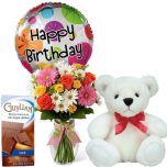 "Colorful Birthday Celebration - Mixed Flower in Vase and Balloon + 6"" White Bear + Guylian Chocolate Bar"