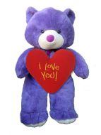 Giant Purple Bear with Heartshape Pillow