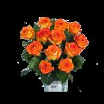 12 pieces orange rose in vase