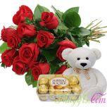 Rose Bouquet + Ferrero Rocher + Cute Bear